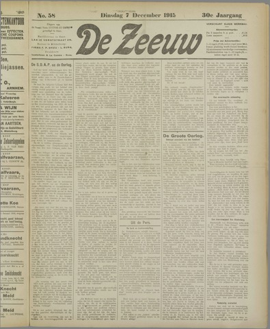 De Zeeuw. Christelijk-historisch nieuwsblad voor Zeeland 1915-12-07