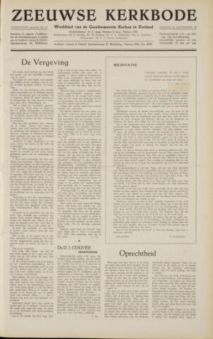 Zeeuwsche kerkbode, weekblad gewijd aan de belangen der gereformeerde kerken/ Zeeuwsch kerkblad 1958-09-12
