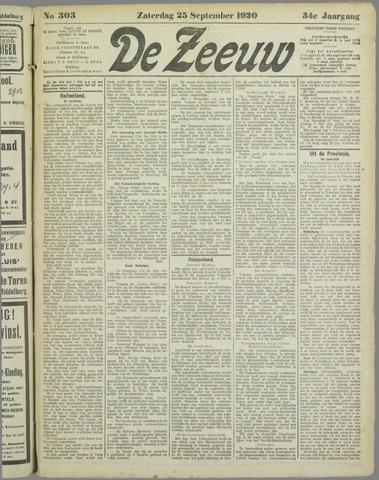 De Zeeuw. Christelijk-historisch nieuwsblad voor Zeeland 1920-09-25