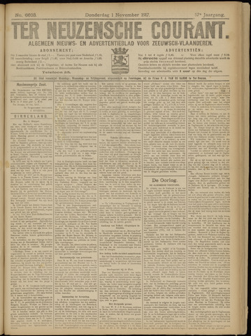 Ter Neuzensche Courant. Algemeen Nieuws- en Advertentieblad voor Zeeuwsch-Vlaanderen / Neuzensche Courant ... (idem) / (Algemeen) nieuws en advertentieblad voor Zeeuwsch-Vlaanderen 1917-11-01
