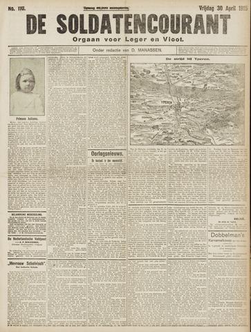 De Soldatencourant. Orgaan voor Leger en Vloot 1915-04-30