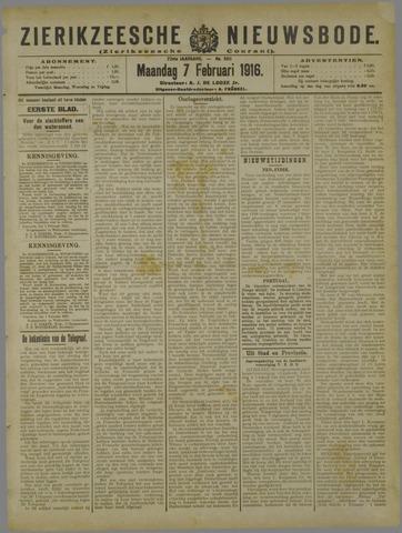 Zierikzeesche Nieuwsbode 1916-02-07