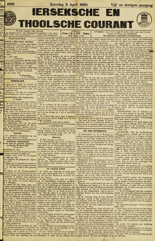 Ierseksche en Thoolsche Courant 1920-04-03
