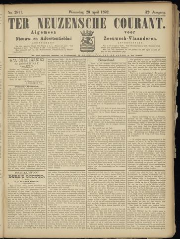 Ter Neuzensche Courant. Algemeen Nieuws- en Advertentieblad voor Zeeuwsch-Vlaanderen / Neuzensche Courant ... (idem) / (Algemeen) nieuws en advertentieblad voor Zeeuwsch-Vlaanderen 1892-04-20