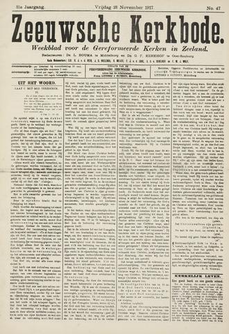 Zeeuwsche kerkbode, weekblad gewijd aan de belangen der gereformeerde kerken/ Zeeuwsch kerkblad 1917-11-23