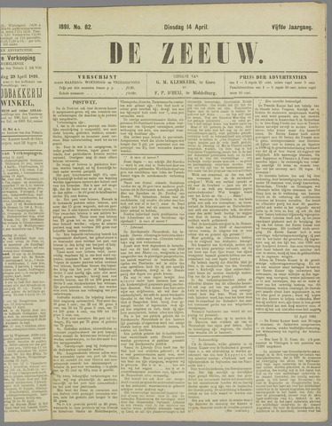 De Zeeuw. Christelijk-historisch nieuwsblad voor Zeeland 1891-04-14