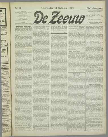 De Zeeuw. Christelijk-historisch nieuwsblad voor Zeeland 1920-10-13