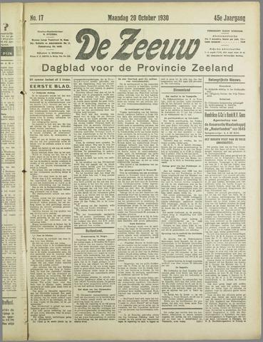De Zeeuw. Christelijk-historisch nieuwsblad voor Zeeland 1930-10-20