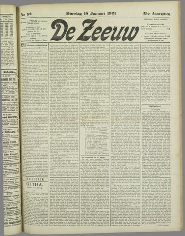 De Zeeuw. Christelijk-historisch nieuwsblad voor Zeeland 1921-01-18