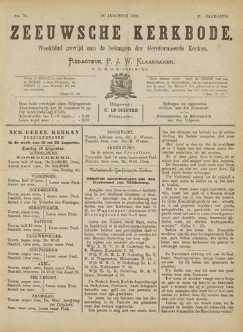 Zeeuwsche kerkbode, weekblad gewijd aan de belangen der gereformeerde kerken/ Zeeuwsch kerkblad 1888-08-18