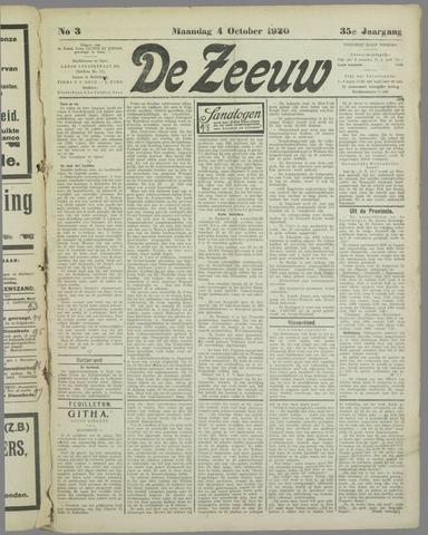 De Zeeuw. Christelijk-historisch nieuwsblad voor Zeeland 1920-10-04