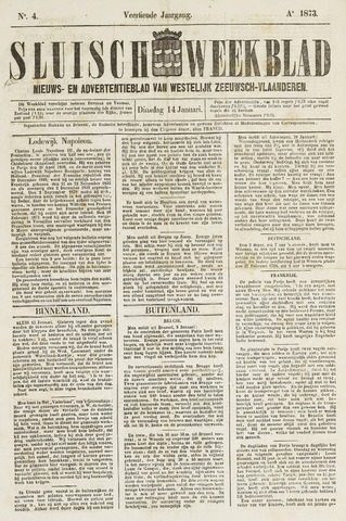 Sluisch Weekblad. Nieuws- en advertentieblad voor Westelijk Zeeuwsch-Vlaanderen 1873-01-14
