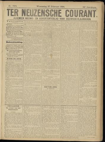 Ter Neuzensche Courant. Algemeen Nieuws- en Advertentieblad voor Zeeuwsch-Vlaanderen / Neuzensche Courant ... (idem) / (Algemeen) nieuws en advertentieblad voor Zeeuwsch-Vlaanderen 1924-02-27