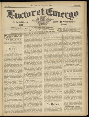 Luctor et Emergo. Antirevolutionair nieuws- en advertentieblad voor Zeeland / Zeeuwsch-Vlaanderen. Orgaan ter verspreiding van de christelijke beginselen in Zeeuwsch-Vlaanderen 1914-11-04
