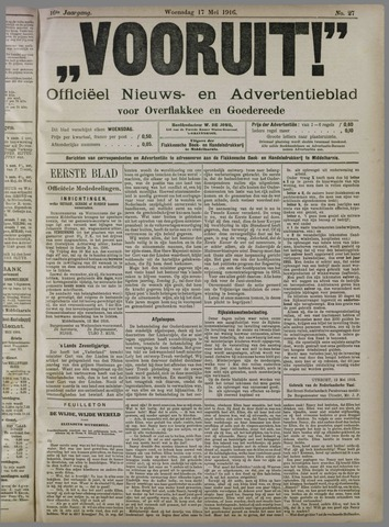 """""""Vooruit!""""Officieel Nieuws- en Advertentieblad voor Overflakkee en Goedereede 1916-05-17"""