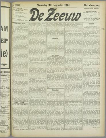 De Zeeuw. Christelijk-historisch nieuwsblad voor Zeeland 1921-08-22