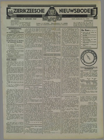 Zierikzeesche Nieuwsbode 1937-01-19