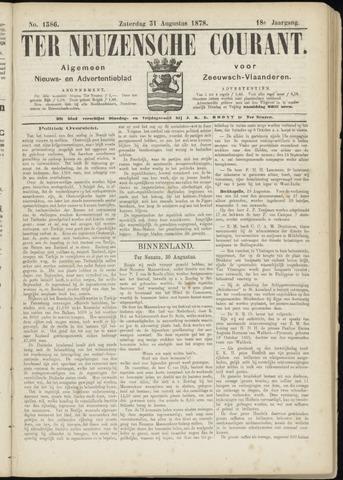 Ter Neuzensche Courant. Algemeen Nieuws- en Advertentieblad voor Zeeuwsch-Vlaanderen / Neuzensche Courant ... (idem) / (Algemeen) nieuws en advertentieblad voor Zeeuwsch-Vlaanderen 1878-08-31