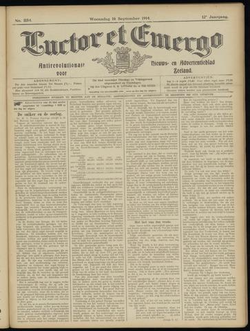 Luctor et Emergo. Antirevolutionair nieuws- en advertentieblad voor Zeeland / Zeeuwsch-Vlaanderen. Orgaan ter verspreiding van de christelijke beginselen in Zeeuwsch-Vlaanderen 1914-09-16