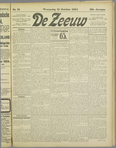 De Zeeuw. Christelijk-historisch nieuwsblad voor Zeeland 1924-10-15