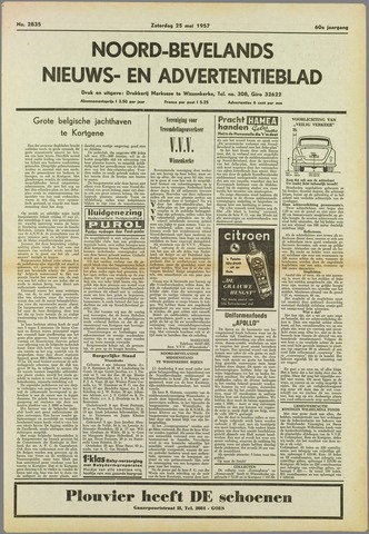 Noord-Bevelands Nieuws- en advertentieblad 1957-05-25