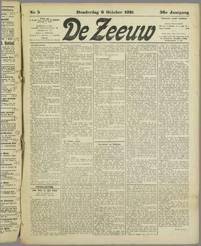 De Zeeuw. Christelijk-historisch nieuwsblad voor Zeeland 1921-10-06