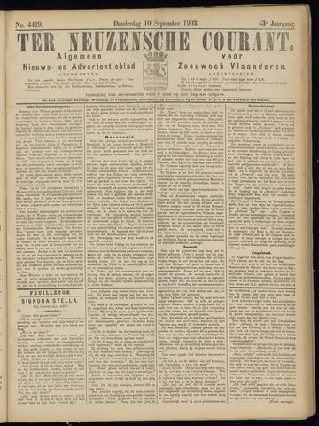 Ter Neuzensche Courant. Algemeen Nieuws- en Advertentieblad voor Zeeuwsch-Vlaanderen / Neuzensche Courant ... (idem) / (Algemeen) nieuws en advertentieblad voor Zeeuwsch-Vlaanderen 1903-09-10