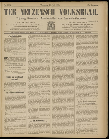 Ter Neuzensch Volksblad. Vrijzinnig nieuws- en advertentieblad voor Zeeuwsch- Vlaanderen / Zeeuwsch Nieuwsblad. Nieuws- en advertentieblad voor Zeeland 1916-06-21
