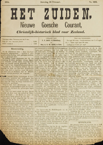Het Zuiden, Christelijk-historisch blad 1885-02-28