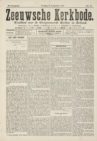 Zeeuwsche kerkbode, weekblad gewijd aan de belangen der gereformeerde kerken/ Zeeuwsch kerkblad 1915-08-13