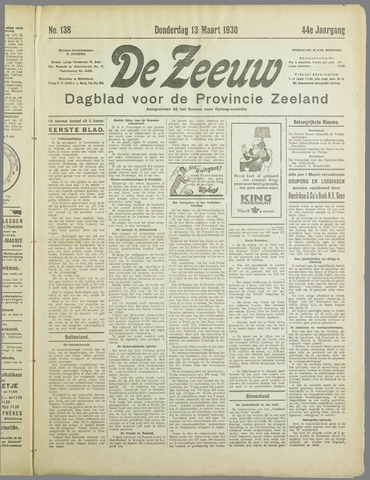 De Zeeuw. Christelijk-historisch nieuwsblad voor Zeeland 1930-03-13