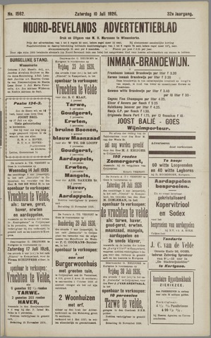 Noord-Bevelands Nieuws- en advertentieblad 1926-07-10