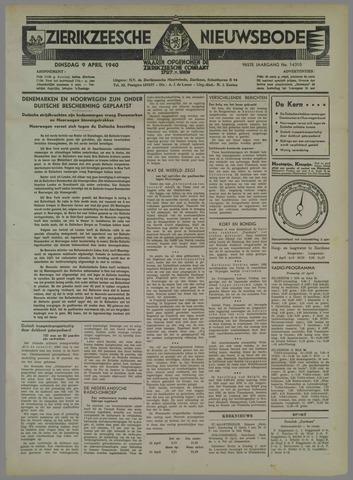 Zierikzeesche Nieuwsbode 1940-04-09