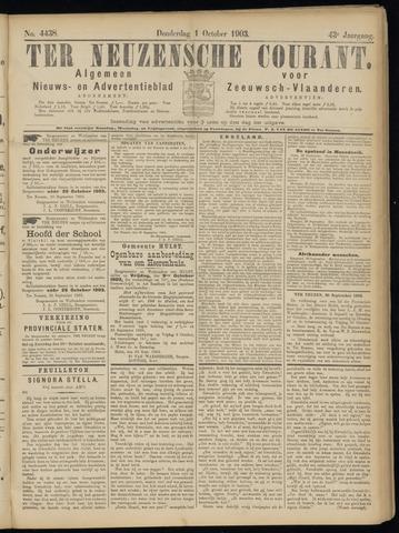 Ter Neuzensche Courant. Algemeen Nieuws- en Advertentieblad voor Zeeuwsch-Vlaanderen / Neuzensche Courant ... (idem) / (Algemeen) nieuws en advertentieblad voor Zeeuwsch-Vlaanderen 1903-10-01