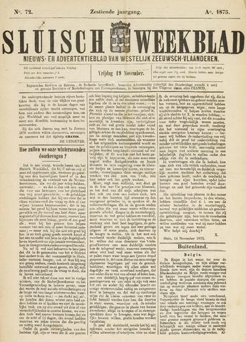 Sluisch Weekblad. Nieuws- en advertentieblad voor Westelijk Zeeuwsch-Vlaanderen 1875-11-19