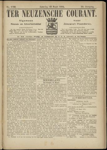 Ter Neuzensche Courant. Algemeen Nieuws- en Advertentieblad voor Zeeuwsch-Vlaanderen / Neuzensche Courant ... (idem) / (Algemeen) nieuws en advertentieblad voor Zeeuwsch-Vlaanderen 1882-03-25
