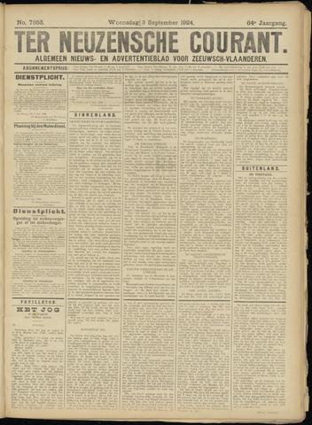 Ter Neuzensche Courant. Algemeen Nieuws- en Advertentieblad voor Zeeuwsch-Vlaanderen / Neuzensche Courant ... (idem) / (Algemeen) nieuws en advertentieblad voor Zeeuwsch-Vlaanderen 1924-09-03