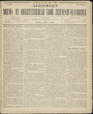 Ter Neuzensche Courant. Algemeen Nieuws- en Advertentieblad voor Zeeuwsch-Vlaanderen / Neuzensche Courant ... (idem) / (Algemeen) nieuws en advertentieblad voor Zeeuwsch-Vlaanderen 1869-09-11