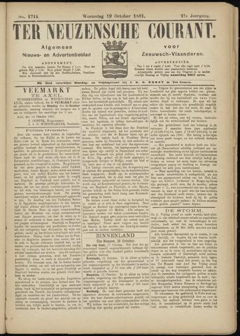 Ter Neuzensche Courant. Algemeen Nieuws- en Advertentieblad voor Zeeuwsch-Vlaanderen / Neuzensche Courant ... (idem) / (Algemeen) nieuws en advertentieblad voor Zeeuwsch-Vlaanderen 1881-10-19