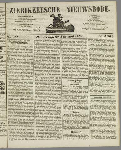 Zierikzeesche Nieuwsbode 1852-01-29