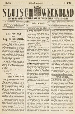 Sluisch Weekblad. Nieuws- en advertentieblad voor Westelijk Zeeuwsch-Vlaanderen 1874-10-20