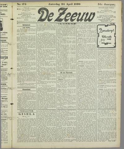 De Zeeuw. Christelijk-historisch nieuwsblad voor Zeeland 1920-04-24