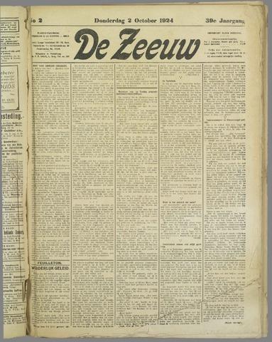 De Zeeuw. Christelijk-historisch nieuwsblad voor Zeeland 1924-10-02