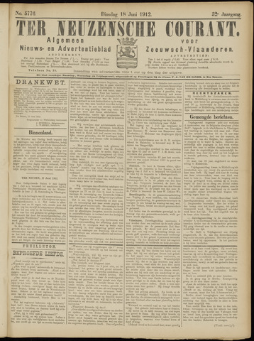Ter Neuzensche Courant. Algemeen Nieuws- en Advertentieblad voor Zeeuwsch-Vlaanderen / Neuzensche Courant ... (idem) / (Algemeen) nieuws en advertentieblad voor Zeeuwsch-Vlaanderen 1912-06-18