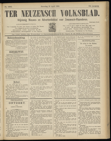 Ter Neuzensch Volksblad. Vrijzinnig nieuws- en advertentieblad voor Zeeuwsch- Vlaanderen / Zeeuwsch Nieuwsblad. Nieuws- en advertentieblad voor Zeeland 1913-04-19