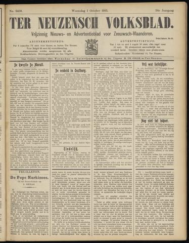 Ter Neuzensch Volksblad. Vrijzinnig nieuws- en advertentieblad voor Zeeuwsch- Vlaanderen / Zeeuwsch Nieuwsblad. Nieuws- en advertentieblad voor Zeeland 1913-10-01