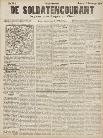 De Soldatencourant. Orgaan voor Leger en Vloot 1915-11-07