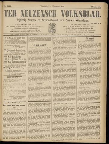 Ter Neuzensch Volksblad. Vrijzinnig nieuws- en advertentieblad voor Zeeuwsch- Vlaanderen / Zeeuwsch Nieuwsblad. Nieuws- en advertentieblad voor Zeeland 1911-11-29