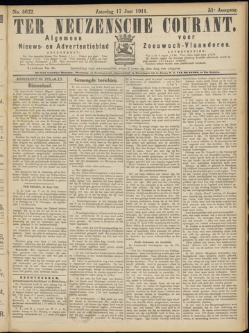 Ter Neuzensche Courant. Algemeen Nieuws- en Advertentieblad voor Zeeuwsch-Vlaanderen / Neuzensche Courant ... (idem) / (Algemeen) nieuws en advertentieblad voor Zeeuwsch-Vlaanderen 1911-06-17