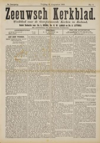Zeeuwsche kerkbode, weekblad gewijd aan de belangen der gereformeerde kerken/ Zeeuwsch kerkblad 1908-08-21